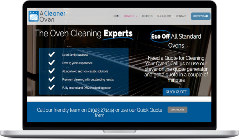 A cleaner oven website design